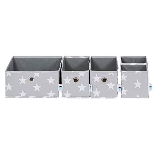 Hochwertiges Organizer Set von Store It, 5-teiliges Set Schubladen Ordnungsboxen in trendigen Sterne Design, 1x 30x30x15cm - 2x 30x15x15cm - 2x 15x15x15cm, hellgrau
