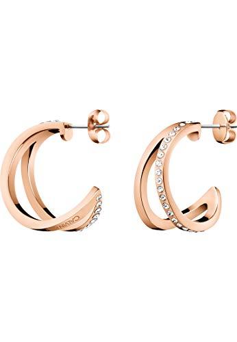 Calvin Klein Damen-Creolen Outline Edelstahl, Kristall Swarovski-Kristall One Size Rosé 32011440