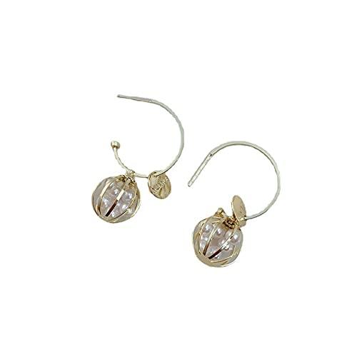 Disco de metal pendientes de perlas con forma de jaula para mujer s925 aguja de plata super hada pendientes simples en forma de linterna