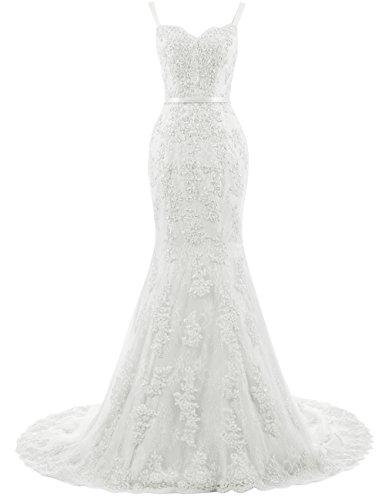 Ballkleider Lang Damen Abendkleider Hochzeitskleider Meerjungfrau Spitze mit Träger Elfenbein EUR44