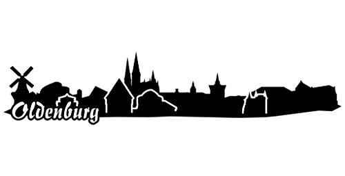Samunshi® Wandtattoo Oldenburg Skyline Wandaufkleber schwarz 30x6,3cm