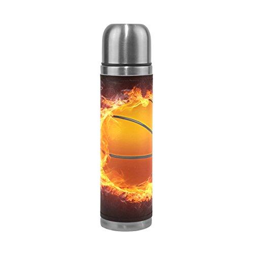 FFY Go Mug de Voyage en Acier Inoxydable avec Inscription Fire Basketball - Bouteille Isotherme - 500 ML