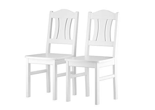 Erst-Holz® Küchenstuhl Massivholzstuhl weiß Esszimmerstuhl Massivholz Einzel- oder Doppelpack V-90.71-26W, Menge:Doppelpack