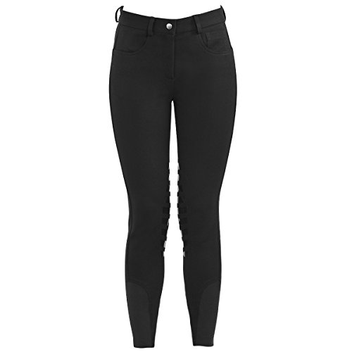 HR Farm Horse Riding Women's Knee Patched Silicone Grip Breeches (Black, 34)