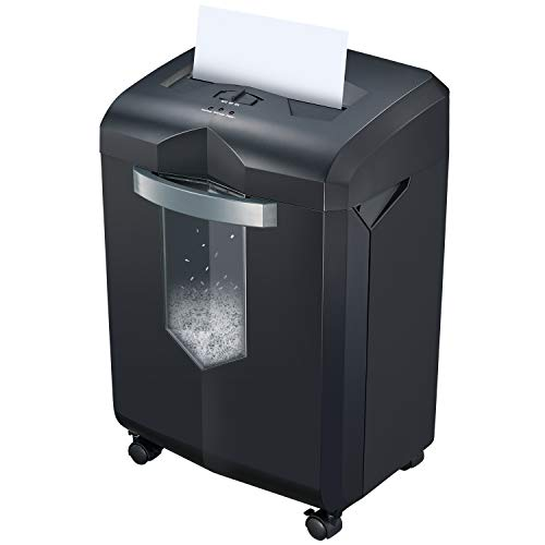Bonsaii 60 Minuten Schwerer Partikelschnitt Aktenvernichter, P-4 (4mm×10mm), 12 Blatt Schredder für Büro Oder zu Hause, mit 23L Ausziehbarem Abfallbehälter und Klarsichtfenster, Schwarz(C149-D)