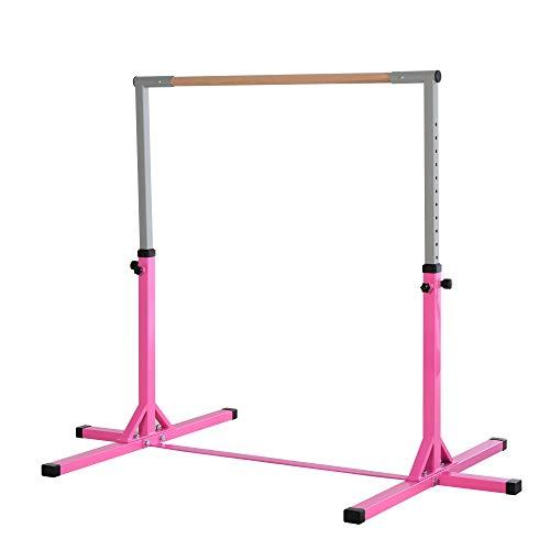 HOMCOM Height Adjustable Gymnastics Horizontal Bar For Kids Home Gym Training...