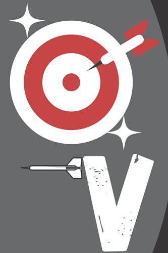 "V: Monogram Initial Letter Name Darts Journal/Notebook Darts script, personalized Darts gift ,Darts player\'s notebook, Darts .gift, 120 page6\"" x 9\"" lined notebook"