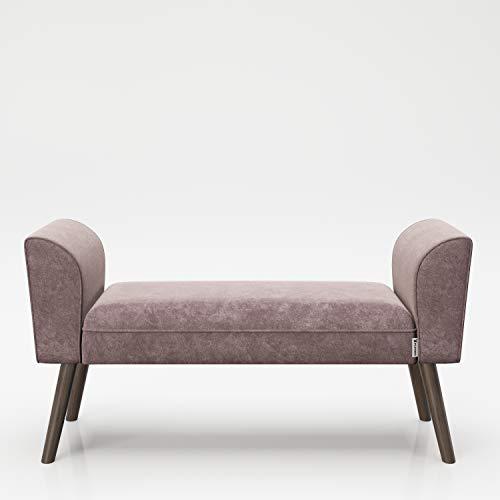 PLAYBOY Sitzbank mit Samtüberzug in Rosa und stabilen Massivholzfüssen, gepolsterte Bank aus Stoff, Sitzhocker, Fusshocker mit Samt, Retro-Design, Club-Stil für Diele- und Eingangsbereich