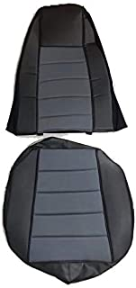 TC Seat Cover Black/Gray Extra Foam for Cushion fits Peterbilt Kenworth Freightliner Western Star Volvo Internacional (Set is for 1 seat)