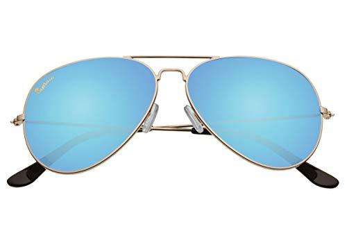 Capraia Nasco Estilosas Piloto Gafas de Sol Alta Calidad Montura Metálica Dorada y Lentes Azules Espejadas Polarizadas protección UV400 Hombres Mujeres