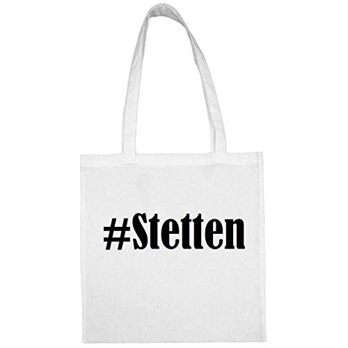 Tasche #Stetten Größe 38x42 Farbe Weiss Druck Schwarz