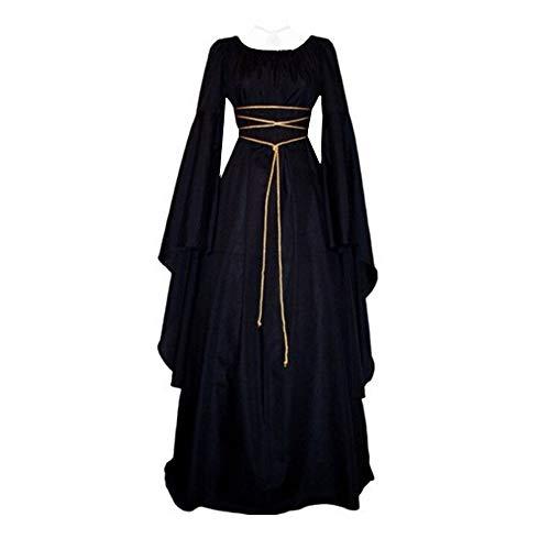 Briskorry Damen Mittelalter Kleid Gothic Retro Kleid Langarm Renaissance Cosplay Kostüm Prinzessin Kleid Lange Abendkleid Gebunden Taille...