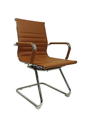 Vivol Konferenzstuhl Valencia PU Leder Cognac - Freischwinger stühle mit armlehne - Esszimmerstühle in verschiedenen Farben erhältlich