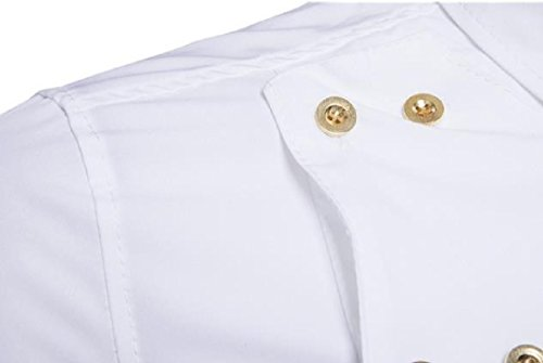 Zimaes-Men Solid Plus Size Slim Fit Double-Breasted Western Shirt White Small