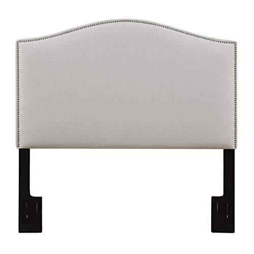 California-King Upholstered Headboard in White Fabric