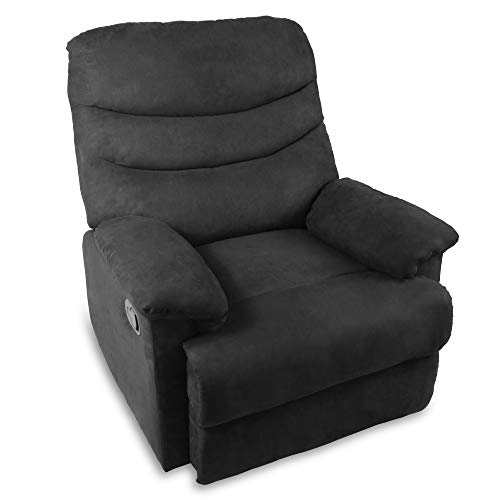 Frivity Fabric Recliner Chair, Adjustable Ergonomic Lounge Reclining Chair for Living Room, Thick Padded Cushion Single Sofa Chair Modern Recliner Seat Club Chair Home Theater Seating, Black