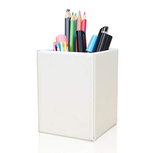 KINGFOM PU Leather Square Pens Pencils Holder Cup Desktop Stationery Organizer Case Office Accessories Container Box White