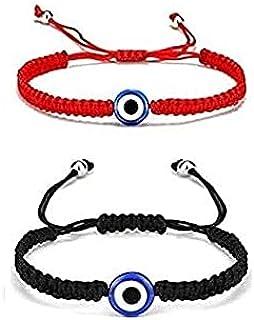 The Bling Stores Kabbalah Nazar Evil Eye Protection Good Luck Threads Bracelets set of 2 size adjustable
