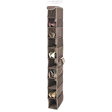 Whitmor Hanging Shoe Shelves - 10 Section - Closet Organizer - Java