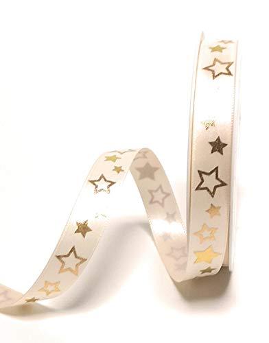 Konrad Arnold Satinband 20m x 15mm Creme - Gold Sterne Dekoband Schleifenband Weihnachtsband [1305]