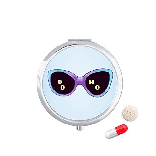 DIYthinker gekleurde Illustratie patroon zonnebril Travel Pocket Pill Case Medicine Drug Opbergdoos Dispenser Spiegel Gift