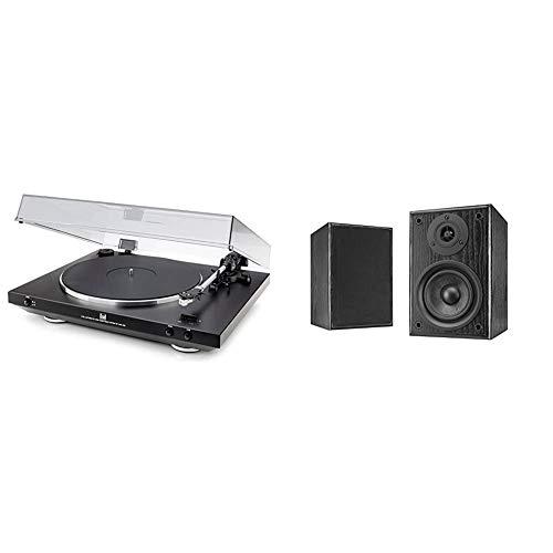 Dual DT 400 USB Vollautomatik Plattenspieler (33/45 U/min, Magnet-Tonabnehmer-System, USB-Anschluss, Entzerrer-Vorverstärker) schwarz & LS 100 Aktiv-Lautsprecher Set schwarz