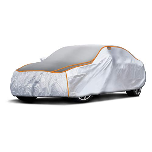 Sojoy All-Weather Hail/Rain/Snow/Heat,Waterproof/Dustproof/Scratchproof UV Protection Thick Multi-Layered Car Cover w/Anti-Hail Damage for in Full Cover Universal Size (Car)