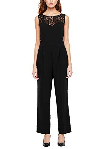 s.Oliver BLACK LABEL Damen 70.912.85.5645 Jumpsuit, Schwarz (Black Velvet 9999), (Herstellergröße: 38)