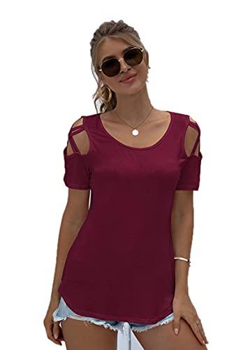 SLYZ Mujeres Europeas Y Americanas Cuello Redondo Camiseta De Manga Corta Moda Sexy Blusa con Hombros Descubiertos Camiseta