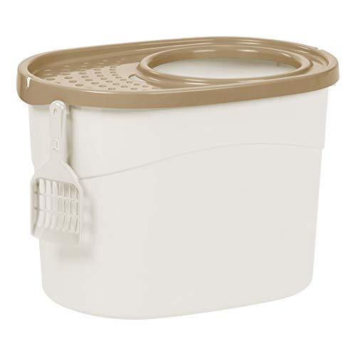 Iris 531225 Katzentoilette 'Top Entry Cat Litter Box' mit Schaufel, weiß/beige