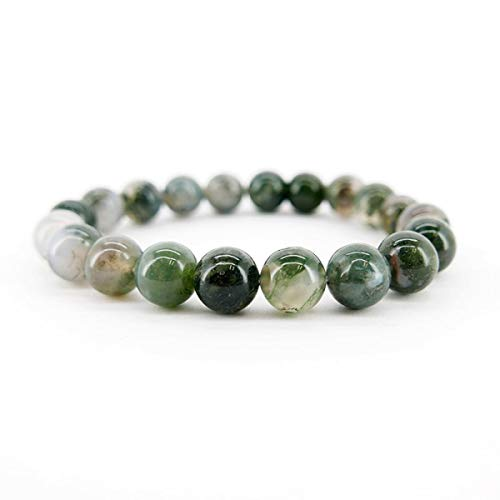 Pulsera Agata Musgosa 10mm Minerales y Cristales, Belleza Energética, Meditacion, Amuletos Espirituales