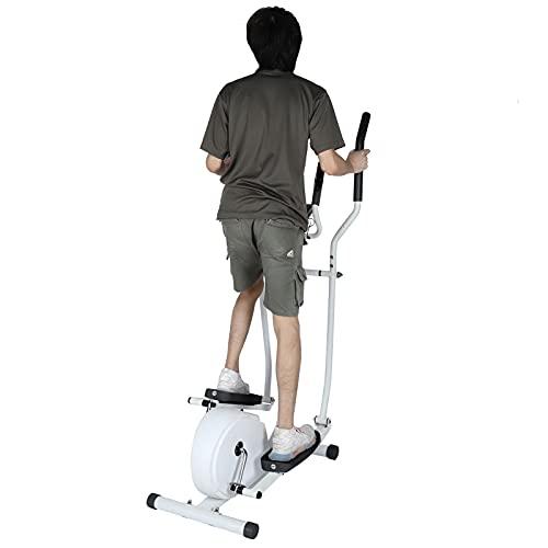 Macchina ellittica magnetica, macchina ellittica per cyclette con monitor digitale LCD e attrezzature per il fitness, 60 x 79,5 x 21,1 cm, carico di 120 kg (bianco)