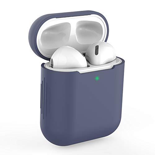 Airpods beschermhoes hoes compatibel met AirPods 2 & 1, KOKOKA siliconen AirPods beschermhoes hoes [LED aan de voorzijde zichtbaar] [Ondersteunt draadloos opladen] voor AirPods middernachtblauw