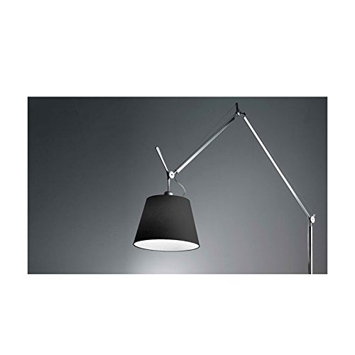 Lampadaire Artemide Tolomeo Mega base de corps avec la tige et diffuseur - 360 mm, Dimmable, Alluminio, Aluminium, Tissu noir