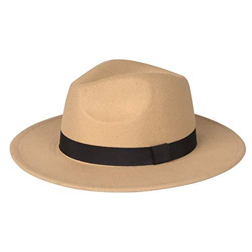 Mdsfe Vrouwen Mannen Mode kerken strohoed Gentleman Derby Retro brede rand Panama Retro 1920 Hoed k3694 Khaki-A3694