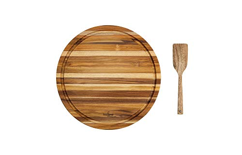 BEEFURNI Round Shape Real Teak Wood Durable Hard Wooden Cutting Chopping Board Thick Butcher Block...