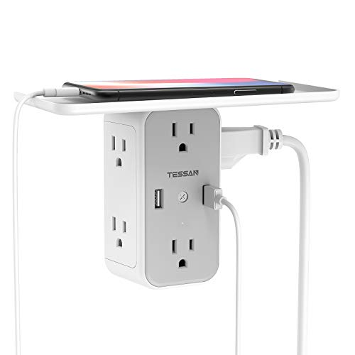 Multi Plug Outlet Extender with Shelf, TESSAN USB Wall Charger with 6 Electrical Outlet Splitter, Multiple Outlet Expander Surge Protector for Home Dorm Essentials