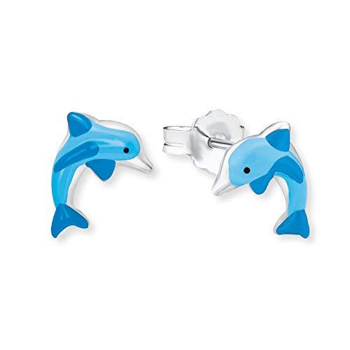amor Ohrstecker für Mädchen Delfin 925 Sterling Silber Emaille blau