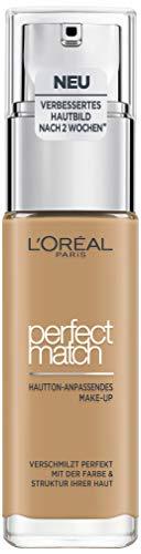 L'Oréal Paris Perfect Match Make-up 5.5.D/5.5.W Golden Sun, flüssiges Make-up, hautton-anpassend, pflegt die Haut mit Hyaluron und Aloe Vera