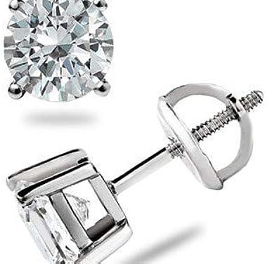 Forever Diamonds 1.00Ct boucles d'oreilles à quatre griffes en or blanc massif de 18 carats de véritables diamants