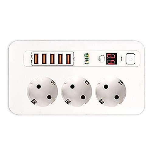 LSR Regleta Enchufes, Regleta Múltiple De 3 Enchufes 5 Enchufes USB Toma De Corriente con Protección contra Sobrecargas Y Interruptores 2500W 17W 5V 3.4A 2M para Teléfono Hogar Oficina, Blanco