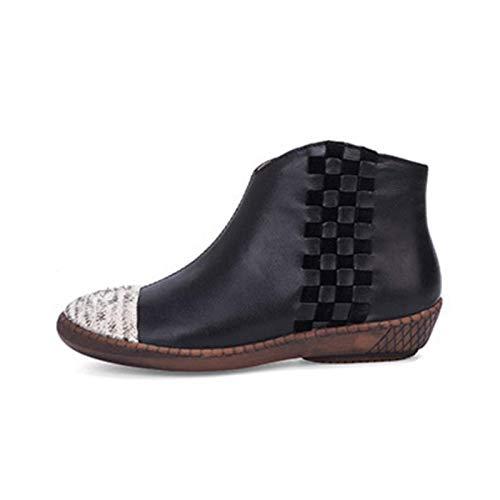 SLM-max waterbestendig Dames enkellaarzen Blok lage hakken Dames stropdas schoenveters Gesp laarsjes Schoenen kunnen het hele jaar door gedragen worden Antislip Perfecte schapenvacht Naaktlaarzen