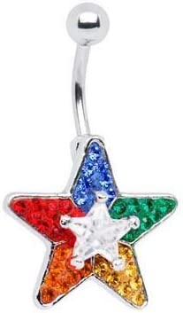 Rainbow red orange yellow green blue purple Paved Cz Star Belly button navel ring piercing bar body jewelry 14g
