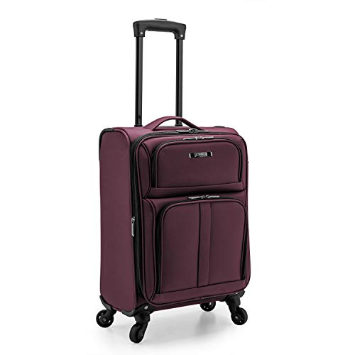 U.S. Traveler Anzio Softside Expandable Spinner Luggage, Burgundy, Carry-on 22-Inch