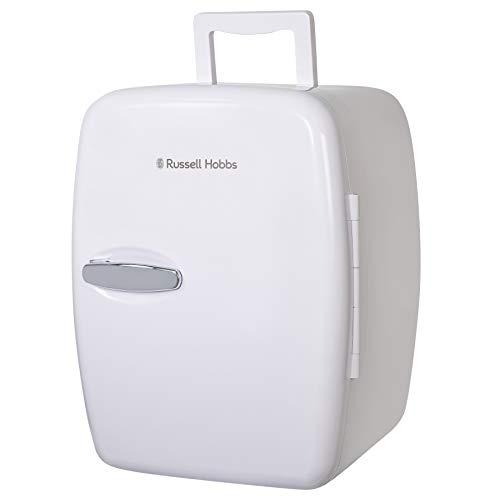 Russell Hobbs Mini Fridge RH14CLR4001 14 Litre/14 Can Mini Portable Cooler & Warmer for Drinks, Cosmetics/Makeup/Skincare, AC/DC Power, Retro Style, White, For Bedroom, Home, Caravan, Car
