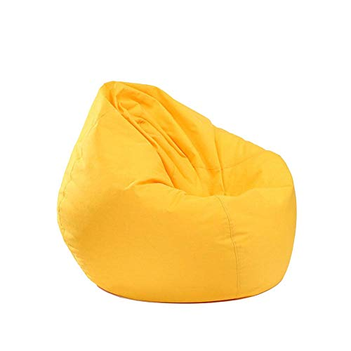 Soft Bean Bags Chair, Big Sofa with Soft Cover, Comfy Seat Home Decor Giant Memory Foam Furniture, Bean Bags Chairs for Kids, Teens, Adults (Yellow, 25.59 X 29.53inch)