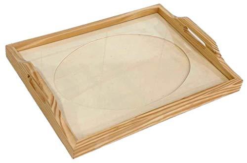 Bandeja cristal para labores. Interior ovalado. En madera en crudo, para pintar. Medida exterior (ancho/fondo/alto): 43 * 33 * 7 cms. Medida interior passepartout 33 * 23 cms