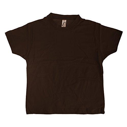 SOLS - Camiseta básica de Manga Corta Modelo Imperial Unisex algodón Grueso Niños Niñas - Deportes/Gimnasia/Correr (12 Años) (Chocolate)