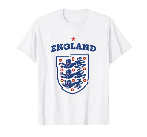 Stilvolle England-Kunst -Drei Fußball-England-Flaggen-Löwen T-Shirt