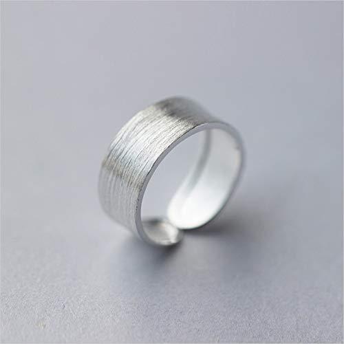 ESCYQ Ringe Für Damen S925 Sterling Silber Verstellbaren,Mode Exquisite Temperament Romantische Gebürstet Paar Klingeln Silber Öffnung Ring Valentinstag Geburtstag Geschenk